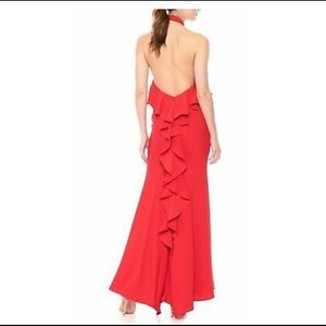 Xscape red halter gown